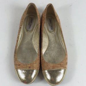Jimmy Choo Cork Gold Ballet Flats Sz 39.5